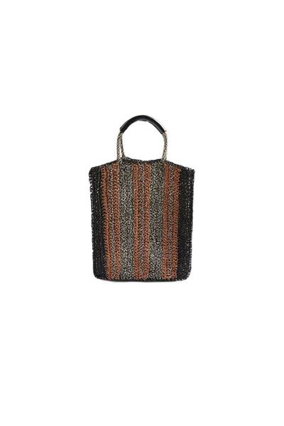 - حقيبة ماركة Topshop Bath Striped Straw Tote Bag